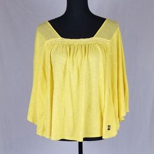 LG Yellow Wing Sleeves Flowy Shirt Top Bohemian